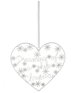 White Christmas Hanging Heart