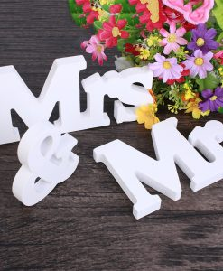 Mr & Mrs Wooden Table Letters
