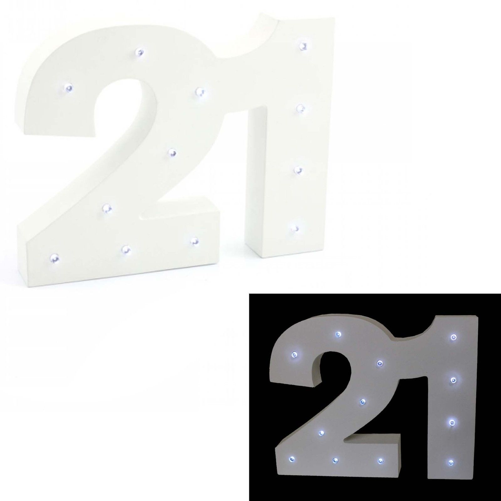 Led Light Up White Wooden Number 21 Bought With Thought