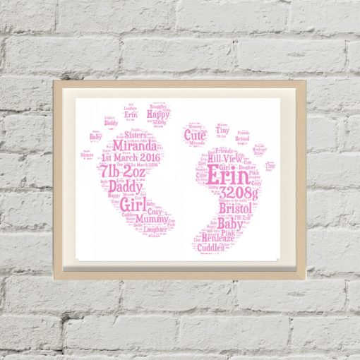 Personalised Baby Feet Word Art Bought With Thought
